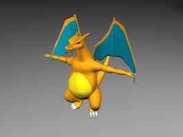 Cute Orange Dragon 3d model