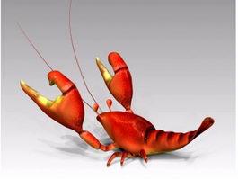 Cute Cartoon Lobster 3d model