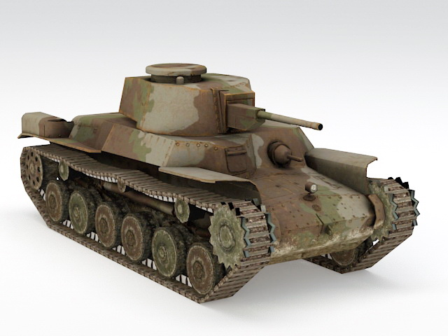 WW2 Tank 3d model rendered image