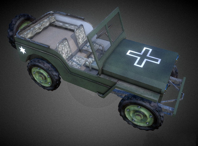 WW2 Jeep 3d model rendered image
