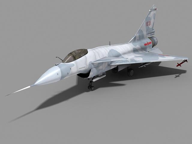 Chengdu J-10 Fighter Jet 3d model rendered image