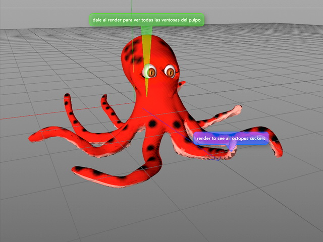 Red Octopus Cartoon 3d model rendered image