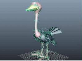 Cartoon Ostrich Rig 3d model