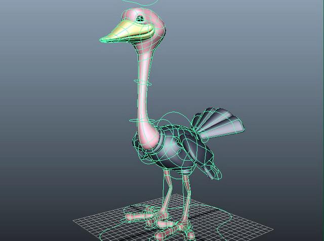 Cartoon Ostrich Rig 3d model rendered image