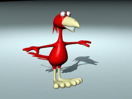 Cartoon Red Crow 3d model