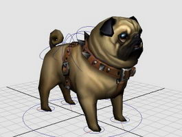 Pug Puppy Rig 3d model