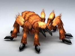 Giant Hairy Spider Rig 3d model