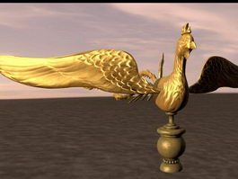 Gold Phoenix Sculpture 3d model