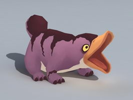 Cartoon Platypus Animated & Rig 3d model
