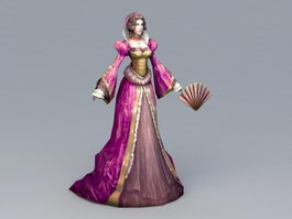 Medieval Noble Lady 3d model
