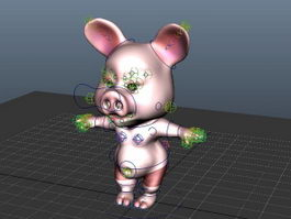 Cartoon Pig Rig 3d model