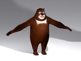 Fat Cartoon Bear Rig 3d model