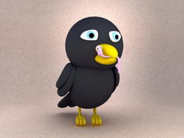 Cartoon Crow Bird 3d model
