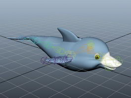 Cartoon Dolphin Animated Rig 3d model