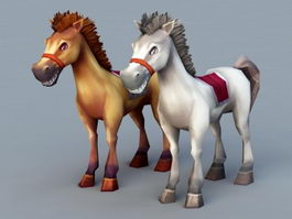 Cute Cartoon Horses 3d model