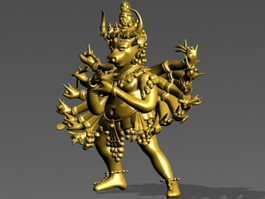 Bronze Buddha with Several Arms 3d model