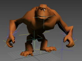 Angry Ape Cartoon Rig 3d model