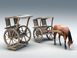Medieval Horse and Carriage 3d model