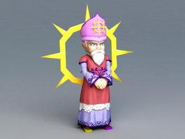 Cartoon Bishop Rig 3d model
