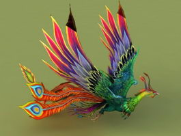 Rainbow Phoenix Animated & Rig 3d model