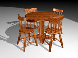 Round Dining Table Sets 3d model