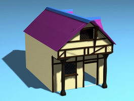 Small Rustic Cabin 3d model