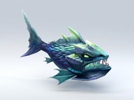 Cartoon Fish Monster 3d model