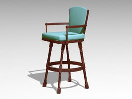 Vintage Wooden Bar Chair 3d model