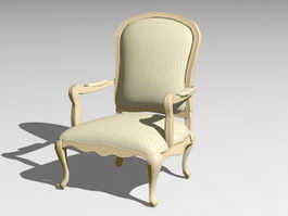 Traditional Wood Armchair 3d model