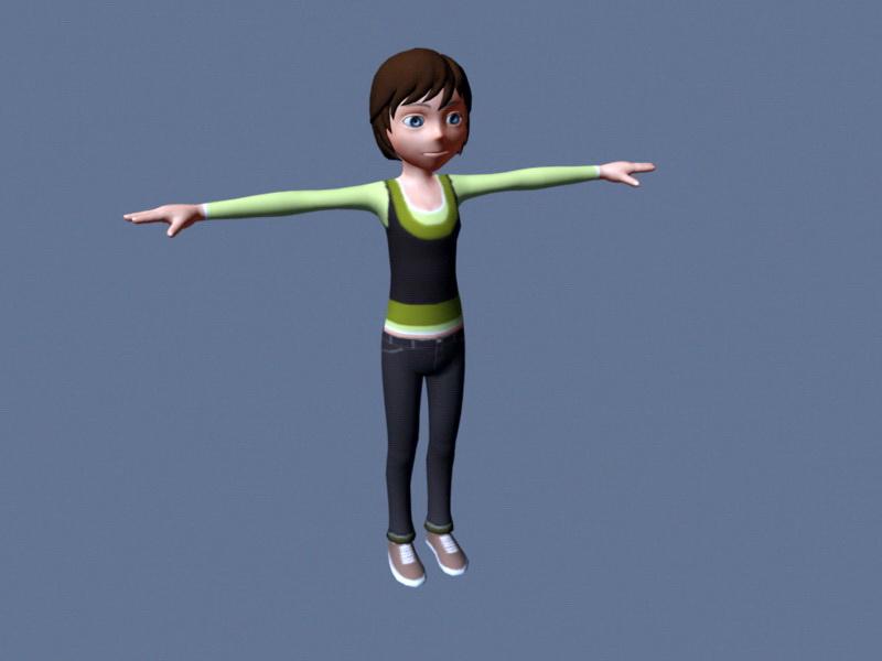 Girl Character Rig 3d Model Maya Files Free Download