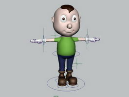 Fat Boy Cartoon Rigging 3d model