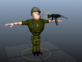 Cartoon Soldier Rig 3d model