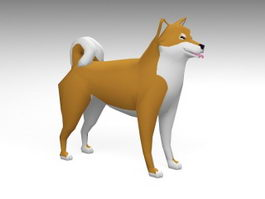 Low Poly Akita Dog 3d model