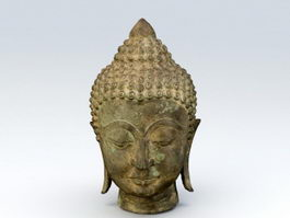 Antique Bronze Buddha Head 3d model