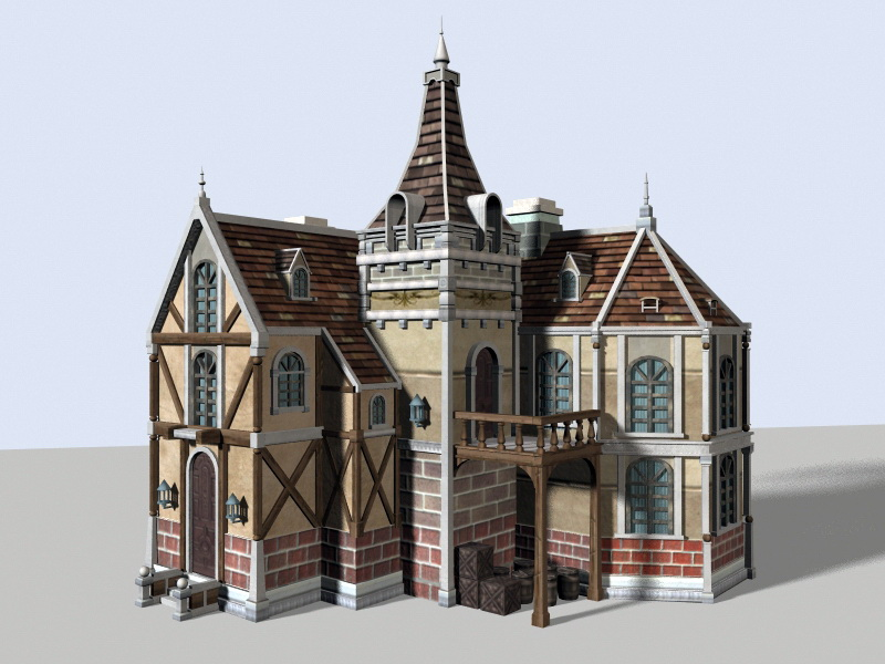 Medieval Town House 3d Model Maya Files Free Download