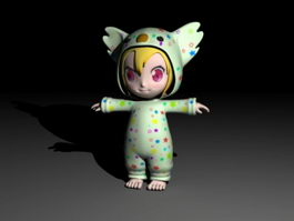 Cartoon Toddler Girl 3d model
