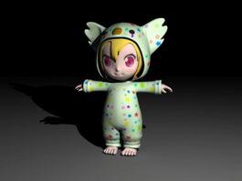 Cartoon Toddler Girl 3d model