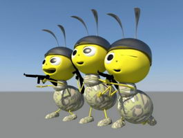 Cartoon Soldier Ant Rig 3d model