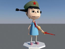 Chinese Elementary School Girl Cartoon 3d model
