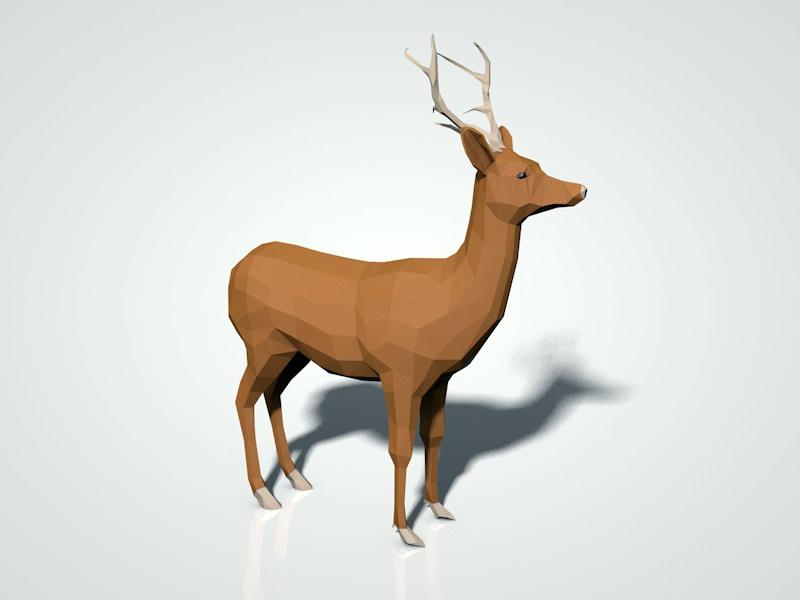 Low Poly Deer 3d Model Cinema 4d Files Free Download