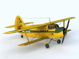 Vintage Biplane 3d model