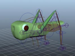 Locust Grasshopper Rig 3d model