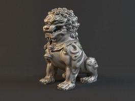 Bronze Lion Statue 3d model