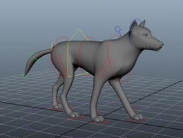 Animated Wolf Rig 3d preview
