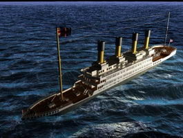 Titanic On Sea 3d model