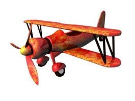 Cartoon Biplane 3d model