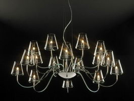 Industrial Glass Chandelier 3d model