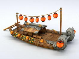 Chinese Anime Boat 3d model