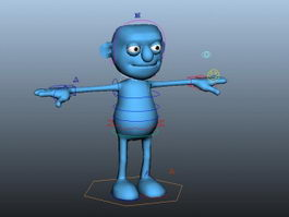 Blue Cartoon Person Rig 3d model