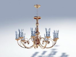 Victorian Brass Chandelier 3d model